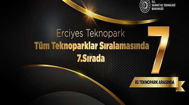 Erciyes Teknopark, Türkiye'deki 85 Teknopark Arasında 7.Sırada Yer Aldı