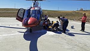 Kalça kemiği kırılan vatandaşın imdadına hava ambulansı yetişti