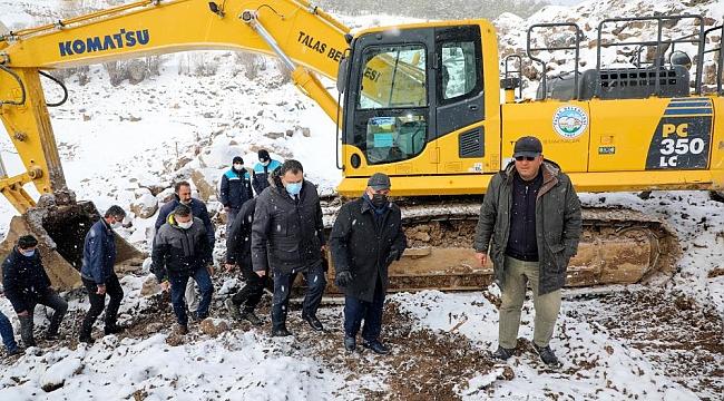 Zincidere Göleti'nde kar altında çalışmalar devam ediyor