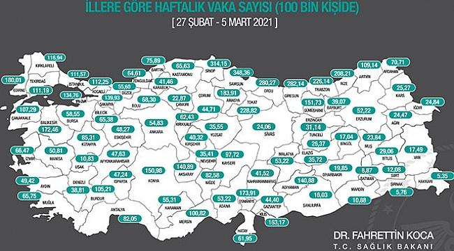 Bakan Koca, illerin haftalık vaka sayısı haritasını paylaştı